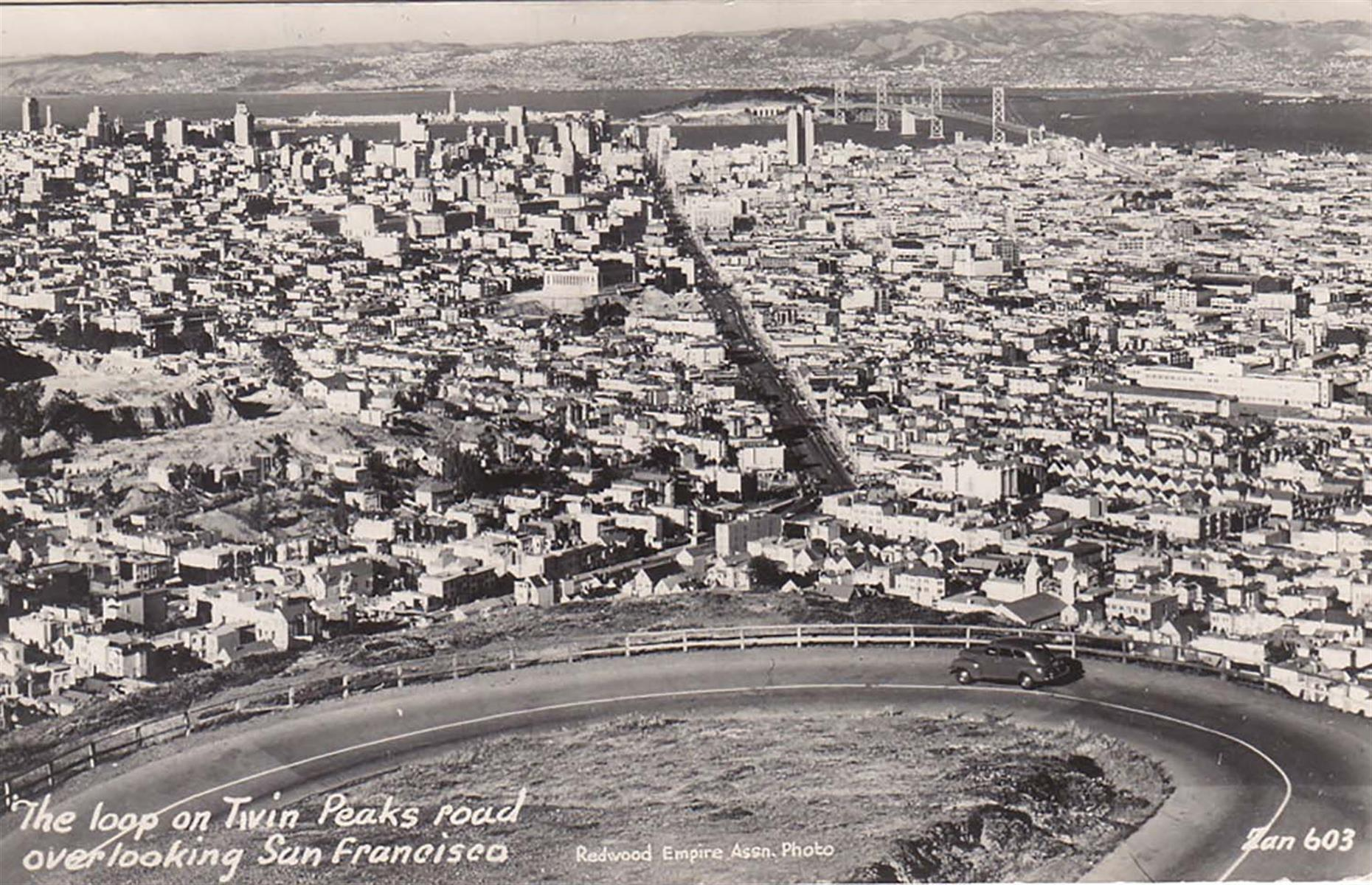 Slide 8 of 27: Captured from Twin Peaks in 1947, the San Francisco cityscape is almost unrecognizable, if not for the Oakland Bay Bridge, finished just around 10 years prior to this photo. While some high-rises had already appeared in the city's Financial District, much of the city changed in the coming decades, as the urban planning projects of the 1950s and the 1960s focused on widespread redevelopment of neighborhoods and the construction of new freeways.