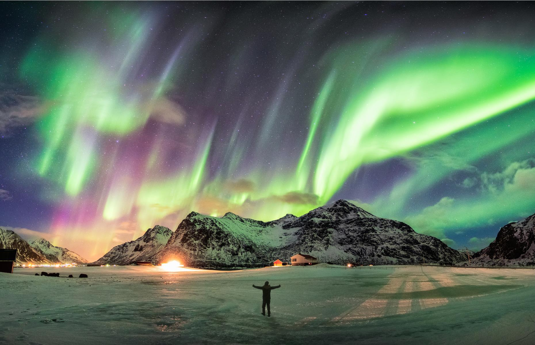 Slide 23 of 25: This area of Norway is also located beneath the auroral oval, like Tromsø. What's more, Lofoten's many beaches are perfect for unobstructed views of nature's light show. Visitors often combine the experience with kayaking, snowshoeing or horseback riding.
