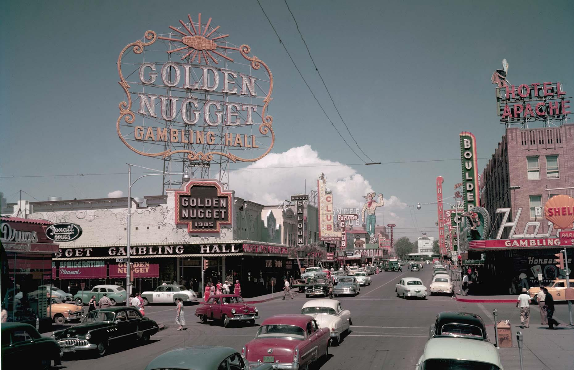 Slide 4 of 27: Once the focal point of Las Vegas, Fremont Street is pictured here in 1953. Back then, Golden Nugget (one of the oldest casinos still open in the city) and its huge sign were a dazzling symbol of Sin City. The area, also home to The Hotel Apache, El Cortez and The Mint, became known as the Glitter Gulch, thanks to all the tall neon signs looming over the narrow street. However, soon after, a development boom kickstarted the rise of the Las Vegas Strip, and today Fremont Street looks a lot different...