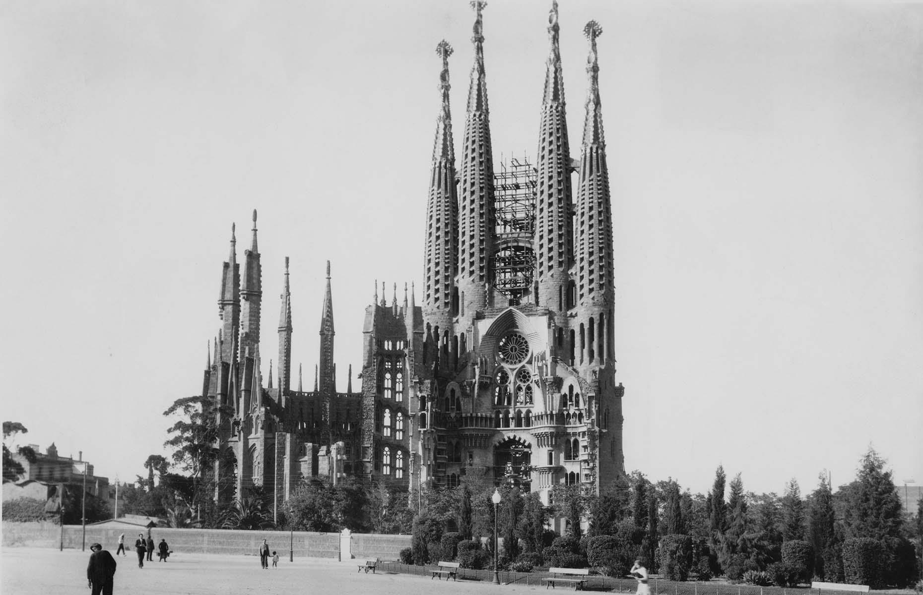 Slide 26 of 27: No work by legendary architect Antoni Gaudí is more famous or impressive than his plan for Sagrada Familia. Work on the landmark began in 1882 (originally under the watch of Spanish architect Francisco de Paula del Villar) and it's pictured here some 60 years later, circa 1940.