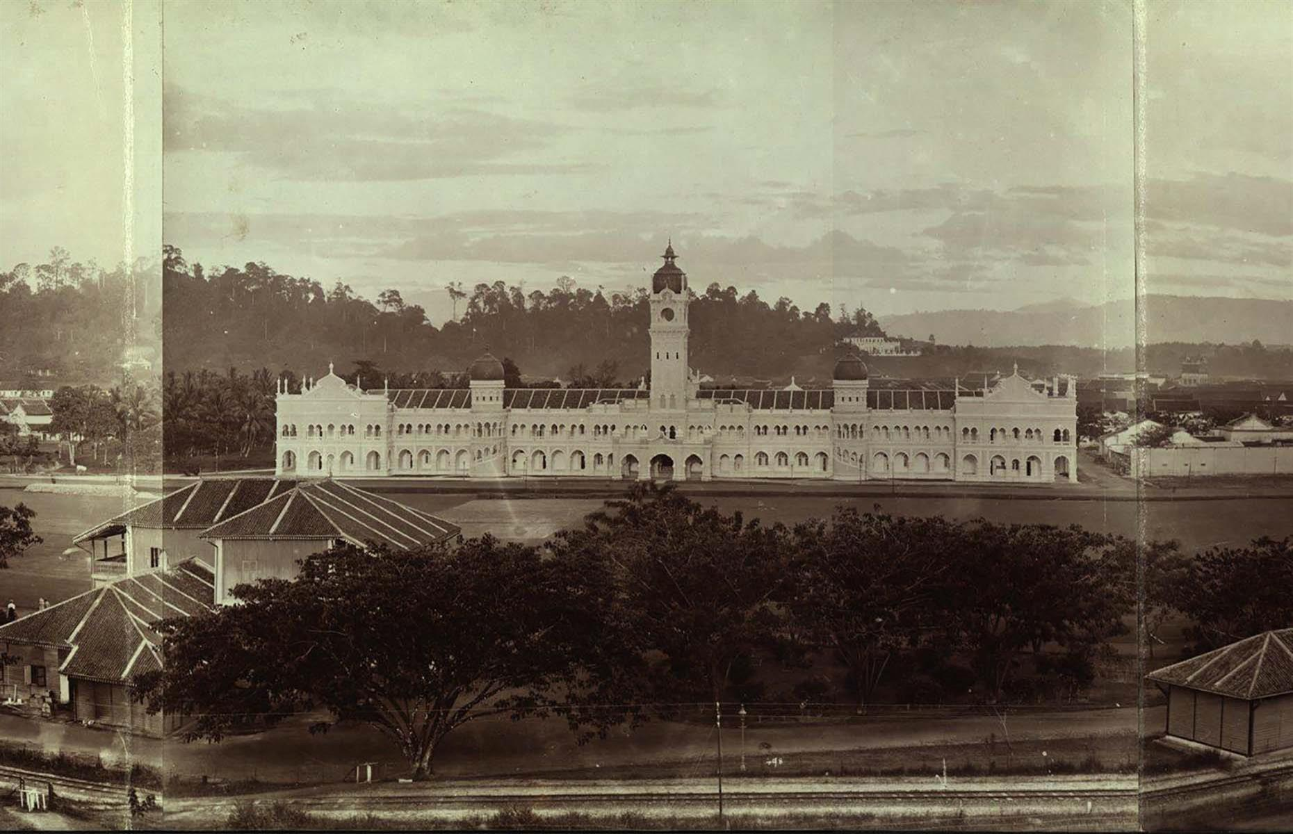 Slide 6 of 27: Originally built to house the British colonial administration in Kuala Lumpur, the Government Offices building, as it was then known, was opened in 1897, and is photographed here in the early 1900s. Located in the city center, the ornate pile was the grandest in Kuala Lumpur at the time – the city was still in its early days, having only been founded in 1857.