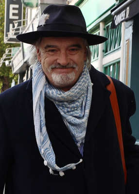 Ian Bailey wearing a hat: Mr Bailey became a suspect for the murder after publishing details of her killing that were not public knowledge. Pic: Collins Courts