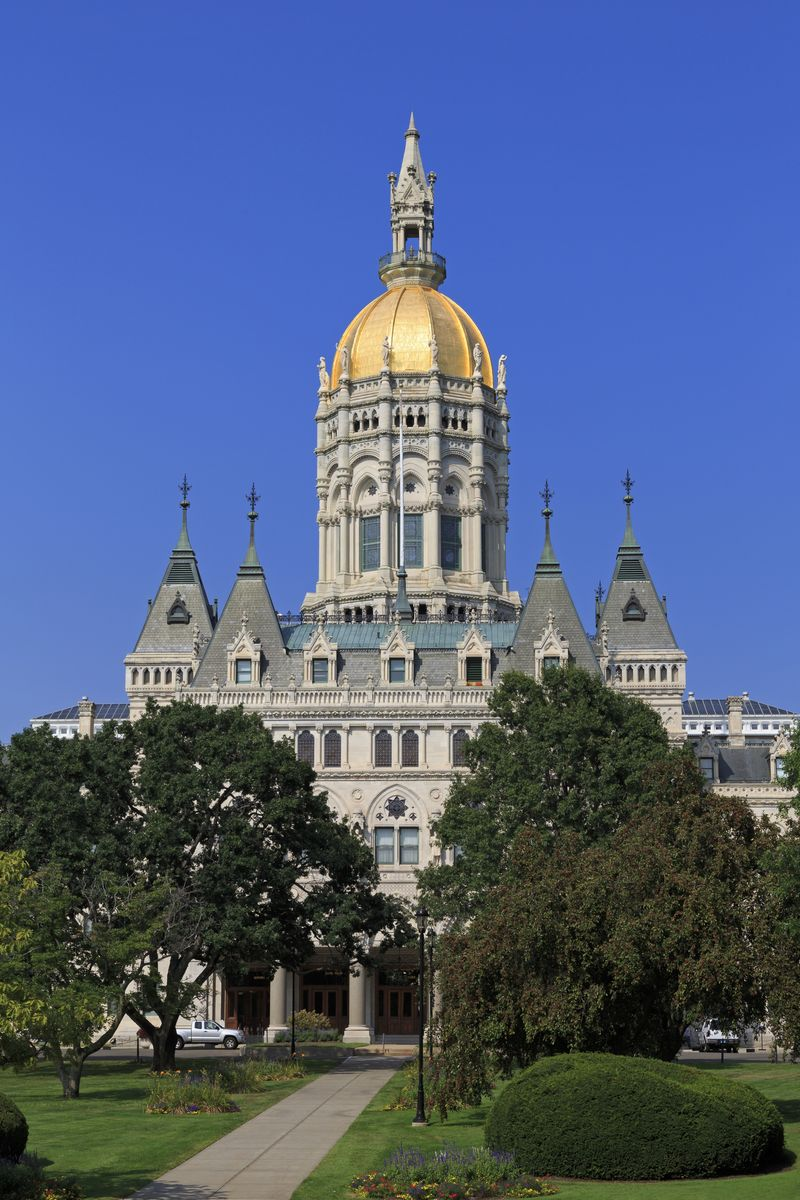 Slide 8 of 51: Chances are, you already know Connecticut's state song by heart: It's Yankee Doodle! The famous tune was designated as the official state song in 1978 at the Connecticut State Capitol in Hartford (which you can see pictured here).