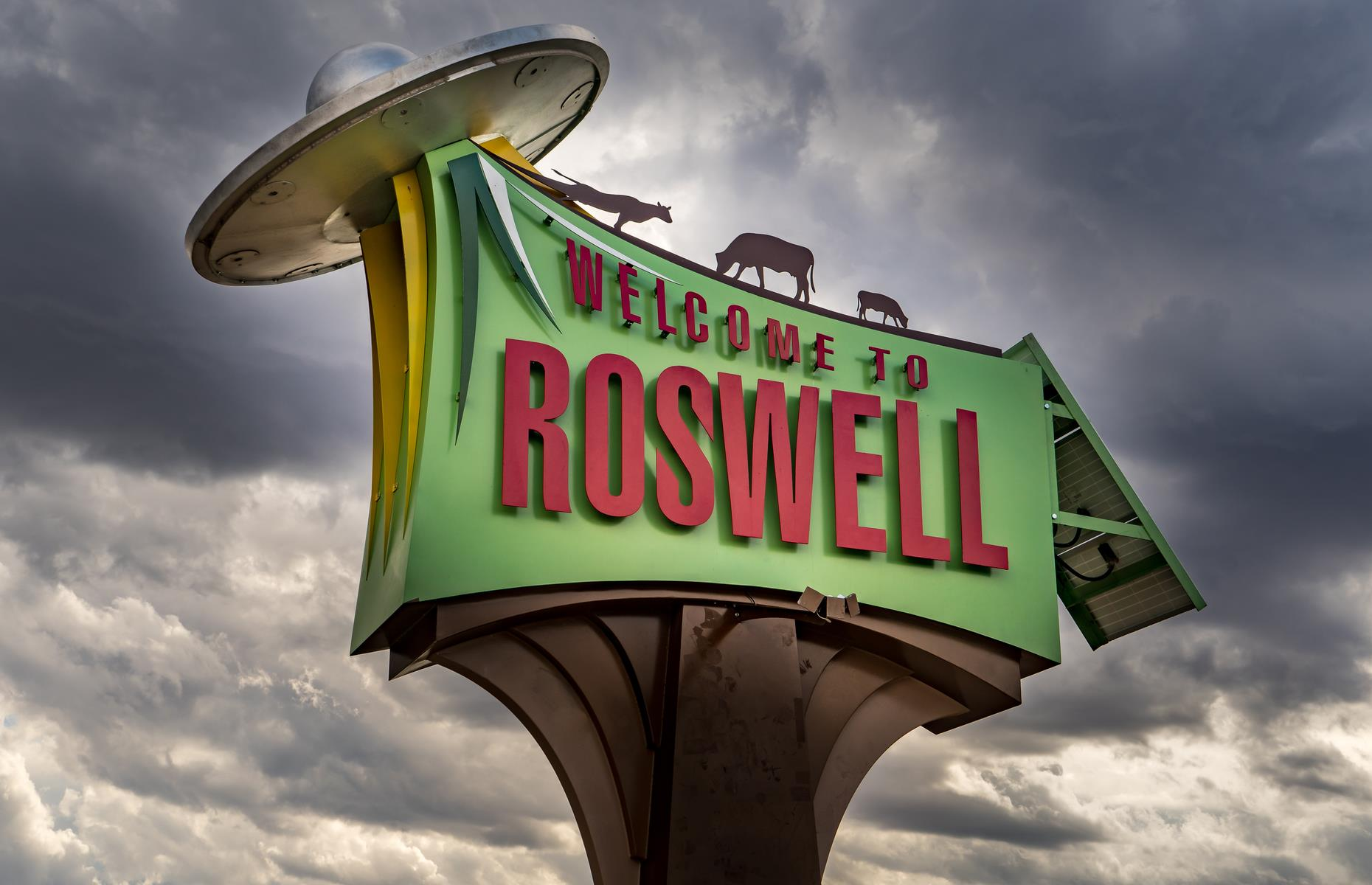 Slide 12 of 26: It's almost impossible to hear the name 'Roswell' and not think 'aliens', or at least UFOs. This relatively small, previously inconspicuous New Mexico city hit the otherworldly big time in 1947 when a ranch worker claimed to have discovered the debris of a flying saucer crash. The mystery was explained away as a weather balloon crash, though many didn't believe the story – and still don't. Roswell continues to be the embodiment of alien conspiracy theories and embraces its role with dozens of gift shops, museums and an annual UFO Festival.