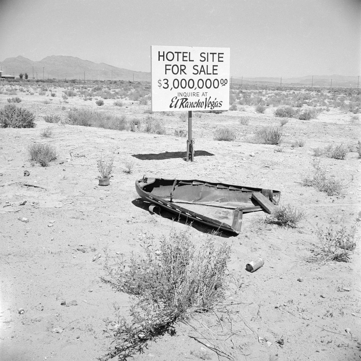 Slide 43 of 50: As Las Vegas grew in popularity throughout the '50s, available lots grew in value. Here, a hotel site plot was being sold for $3 million in 1955.