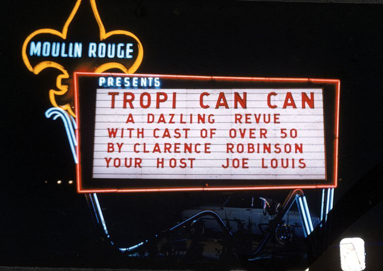 Slide 35 of 50: Named after the iconic Paris nightclub, the Moulin Rouge casino was the first desegregated hotel casino in Las Vegas.