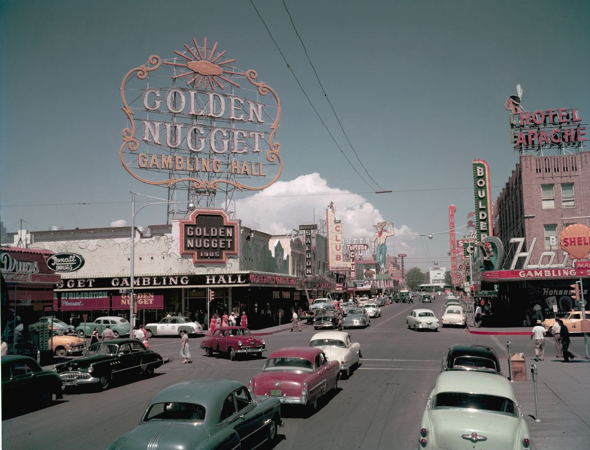 Slide 37 of 50: By 1954, over 8 million people were visiting Las Vegas every year, resulting in around $200 million being spent at casinos.