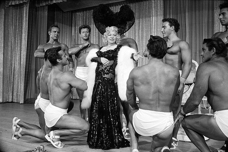 Slide 40 of 50: Mae West making her nightclub debut at Hotel Sahara. After her cinematic career ended, she continued performing in Las Vegas.