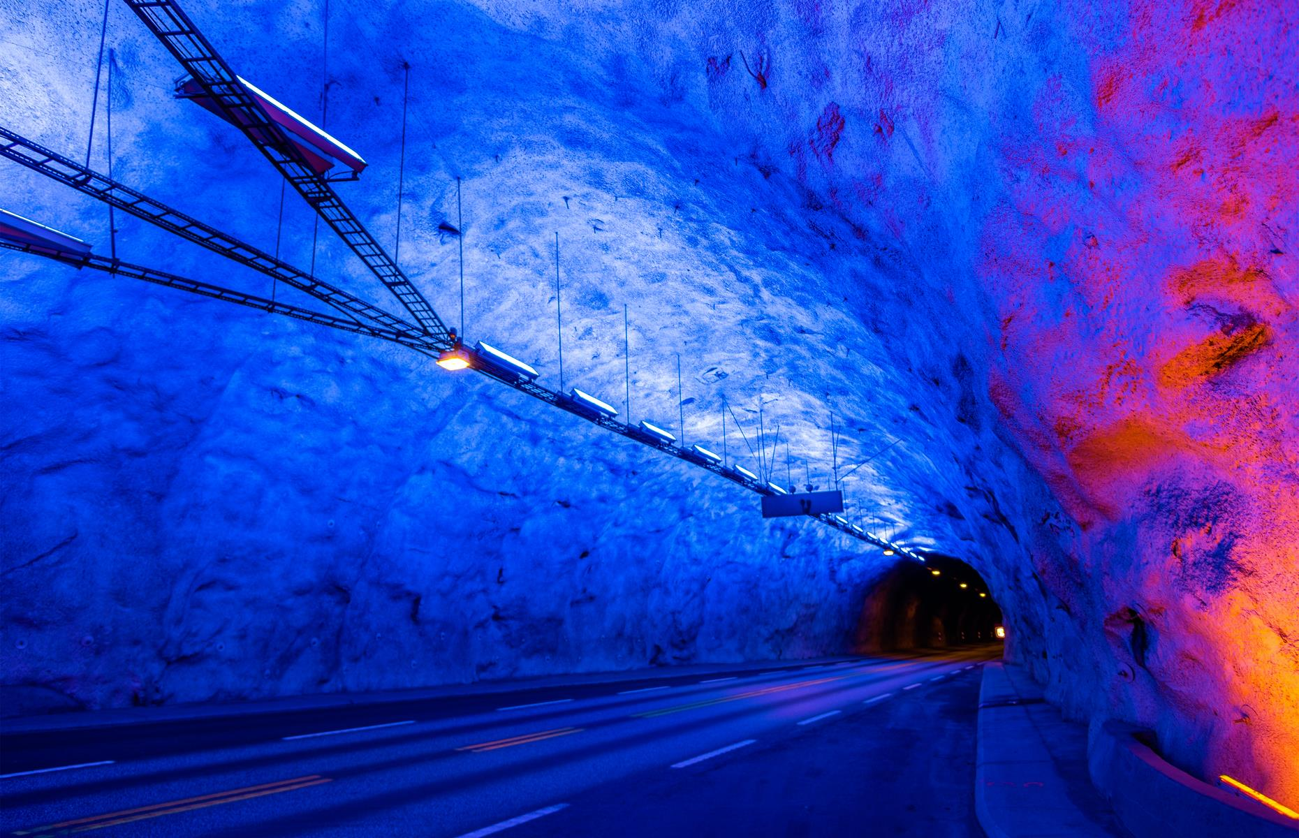 Slide 2 of 31: West Norway's Lærdal tunnel stretches over 15 miles (24.5km) between the Aurland and Lærdal municipalities, providing a ferry-free connection between Oslo and Bergen. It holds the title of the world's longest road tunnel. The impressive piece of infrastructure opened in 2000 after five years of construction and features three rock chambers, which are illuminated with colorful lights. It also has several state-of-the-art safety stations with emergency equipment and call boxes.