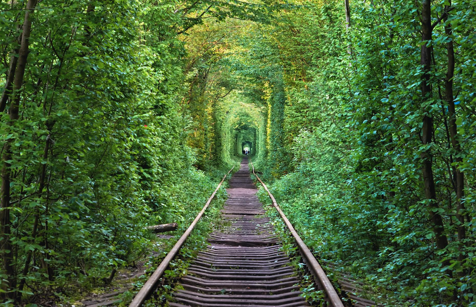 Slide 15 of 31: Another photographer favorite is the Ukraine's so-called Tunnel of Love. It's found along a stretch of an old railway line that runs from the town of Klevan to the Orzhiv Woodworking Plant. After becoming disused the trees grew around the track and their branches became entangled to create a perfect ethereal emerald canopy. Spring and summer are the best times to see the tunnel at its most vibrant although fall lends lovely mellow tones to the spectacle.