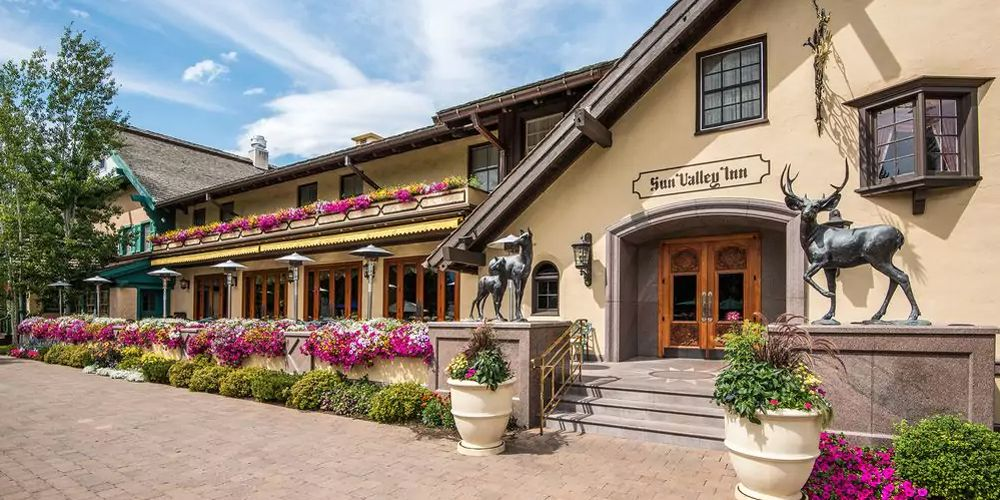 Slide 13 of 53: The Sun Valley Inn, dating from 1937, is one of the top places to stay within the Sun Valley Resort, which offers skiing in winter and hiking and biking in summer. The Bavaria-style inn has 105 rooms and the rustic Ram restaurant, which is known for its fondue.