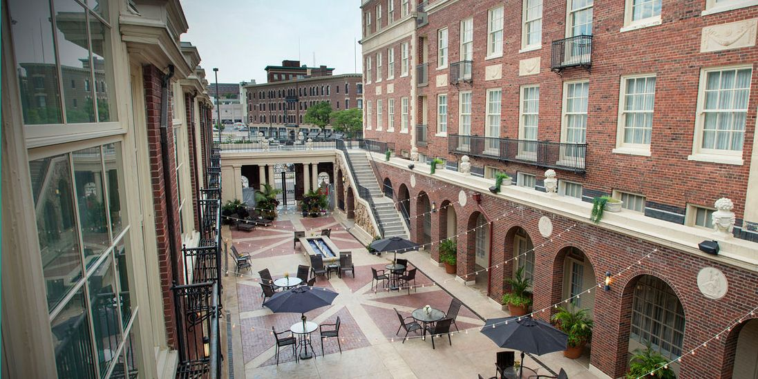 Slide 28 of 53: In downtown Omaha near the Old Market, Magnolia Omaha Hotel was built in 1923 in the style of an Italian palazzo. Though it's been throughly updated with modern amenities, you'll still find original marble flooring, travertine walls, and Roman-style columns.