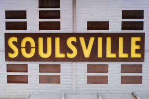 text, calendar: The bus stop on College St next to Stax Museum of American Soul is inscribed with the name of the neighborhood, Soulsville, Thursday, Sept. 24, 2020, in Memphis, TN.