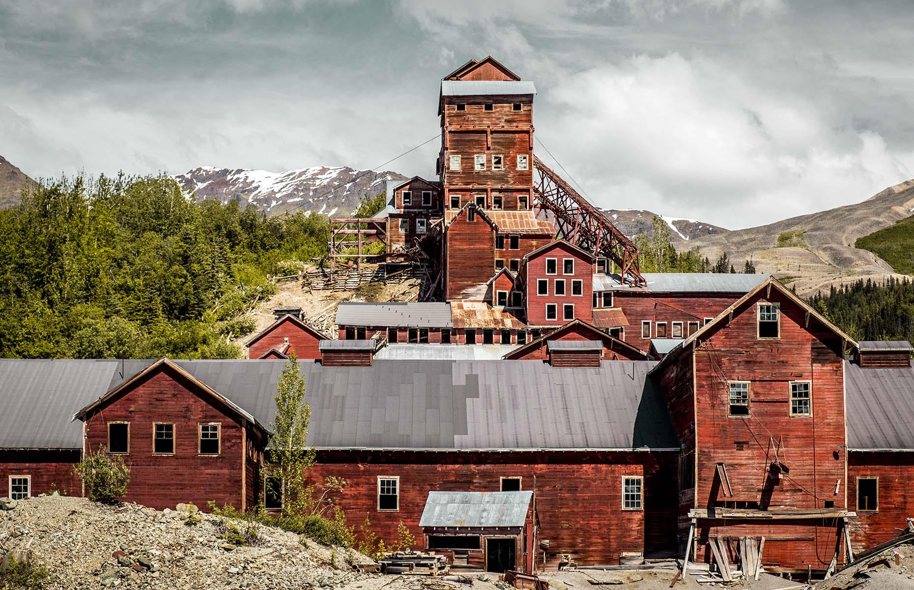 Slide 24 of 46: Between 1909 and 1938 Kennecott mines produced over 4.6 million tons of ore that contained $1.55 billion of copper. But by the late 1930s the mines were depleted, and the facilities abandoned. It has been a national historic landmark open to visitors since the 1980s.