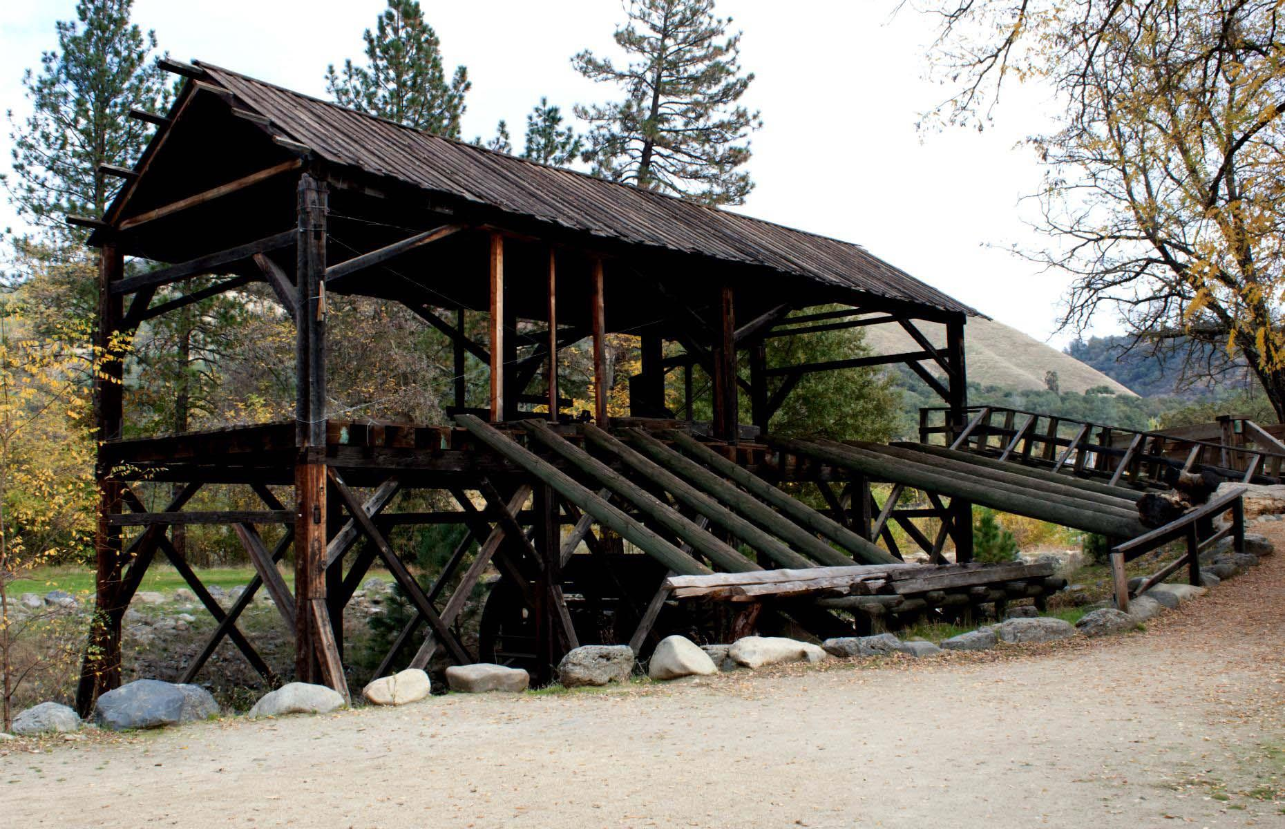 Slide 42 of 46: Between 1847 and 1852 Coloma was an important mining town, but as the gold subsided the population declined, and the town was abandoned. It is still possible to visit the old Sutter's Mill, where the first gold discovery was made and rumor has it there's still plenty of gold left in the hills.