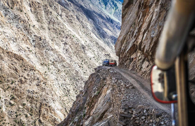 Slide 29 of 31: Don't be fooled by its whimsical name – Fairy Meadows Road is a terrifyingly dangerous road. This 10-mile (16.2km) gravel stretch in the Gilgit-Baltistan region of Pakistan travels to altitudes of more than 10,800 feet (3,300m) and includes unpaved and uneven sections, sheer cliff drops, and sections that are only just wide enough for a jeep to get through. It's enough to make you nervous just looking at it.
