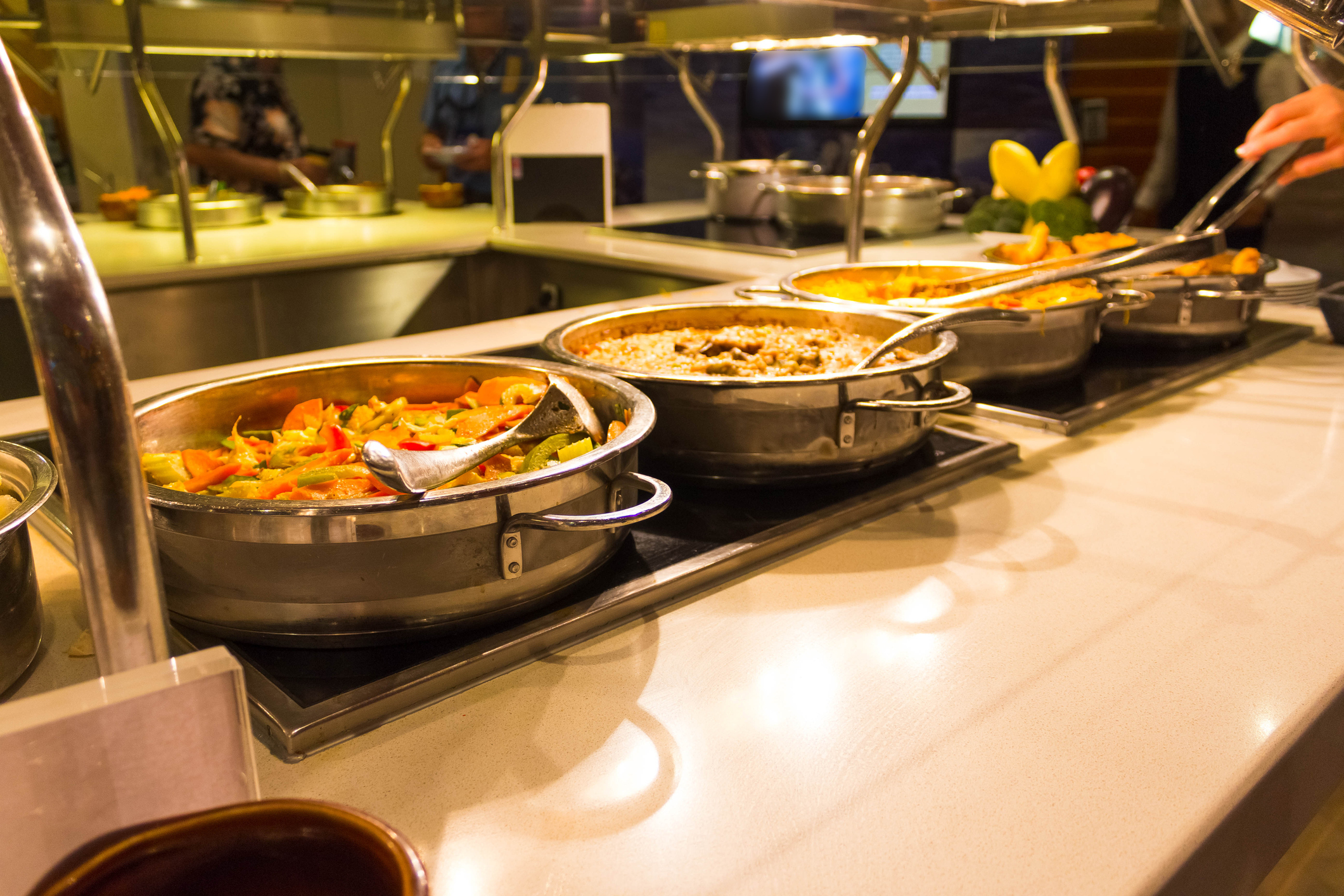 "Slide 8 of 12: It's no secret that buffets, a hallmark of cruises, aren't the most hygienic. Cruise passengers for the foreseeable future won't be able to serve their own food, to reduce potential germ spread. ""Some companies will completely eliminate the buffet concept,"" Dr. Haynes says. ""Others will still offer buffet options where the staff will serve you the food instead of you serving yourself."" Arroyo adds that mealtimes might be staggered, so you won't be able to eat whenever you want. Plus, find out some things you won't be able to do on airplanes anymore."
