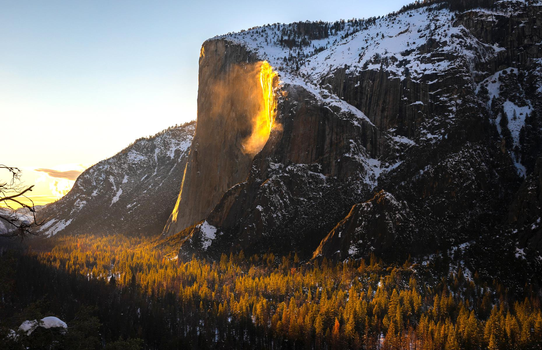 Slide 17 of 41: Horsetail Fall– a seasonal cascade rushing over the eastern side of El Capitan – is beautiful whenever it makes an appearance. But, come late February, it's extra special. When the conditions are just so and the falls are backlit by the setting sun, it appears as though a thick stream of lava is spilling over the side of the mountain. Unsurprisingly, the ethereal spectacle usually draws in the crowds.