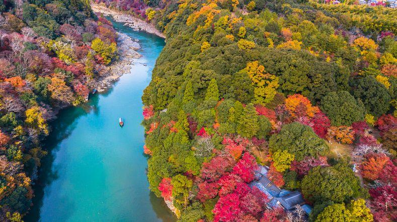 Slide 27 of 33: The Ōi River in Arashiyama, an outskirt of Kyoto, Japan.