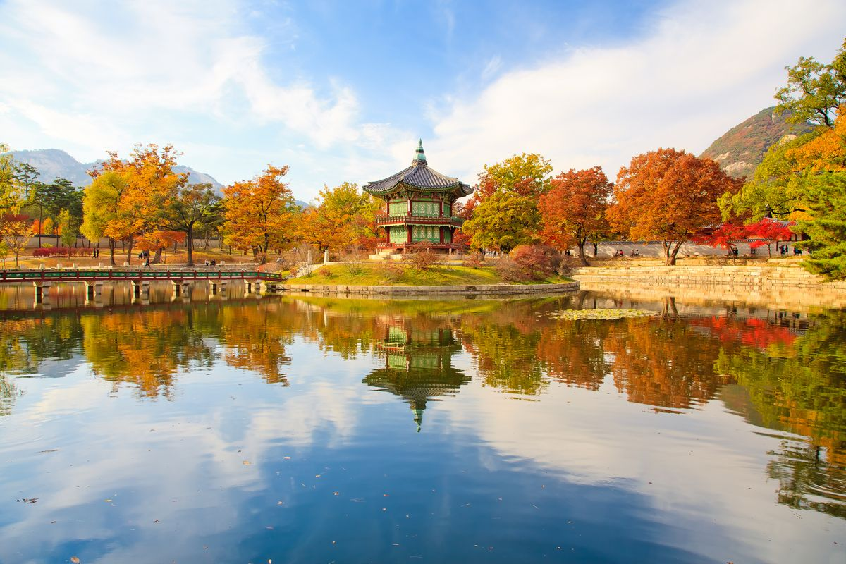 Slide 23 of 33: A royal palace in Seoul, South Korea. The five grand palaces of the Joseon period are major tourist attractions.