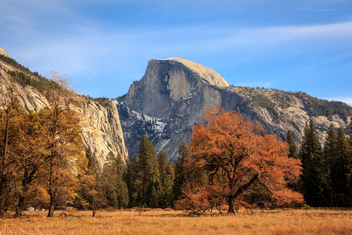 Slide 30 of 33: Half Dome, a well-known rock formation at the eastern end of Yosemite Valley in Yosemite National Park, California.