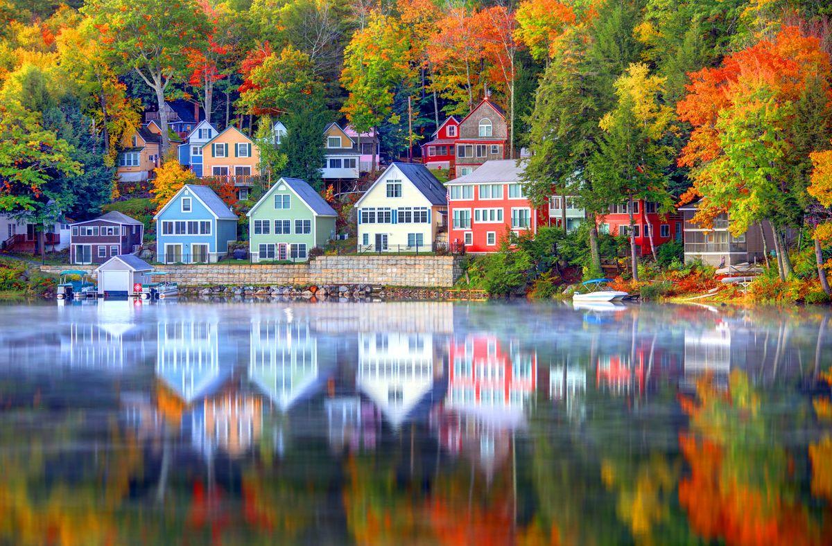 Slide 9 of 33: Autumn on Lake Winnipesaukee, the largest lake in New Hampshire.