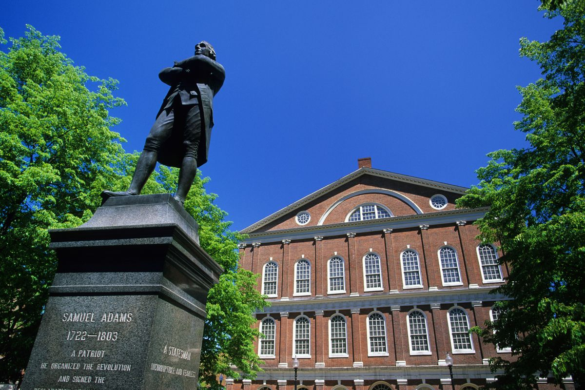 Slide 22 of 51: Boston National Historical ParkThis park covers a lot of ground and history, so make your plan by visiting the visitor center at Faneuil Hall where park rangers will guide you to American Revolution sites like Paul Revere's home, the Freedom Trail and Bunker Hill.
