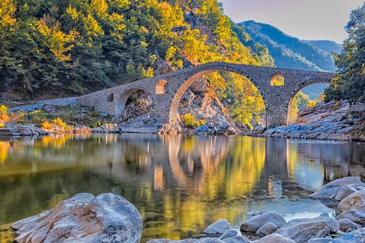 Slide 17 of 33: Devil's Bridge, a humpbacked overpass that crosses the Arda River in Bulgaria.