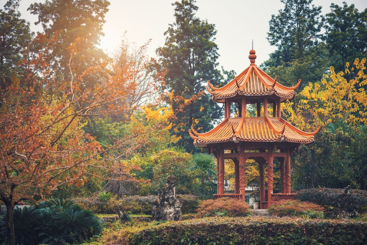 Slide 19 of 33: A pavilion in Chengdu, Sichuan Province, China. The province is known for being home to giant pandas.