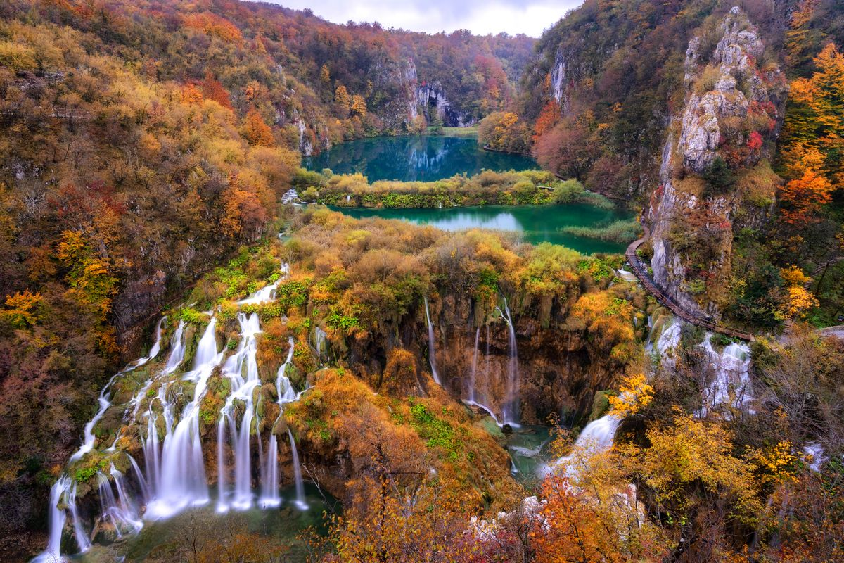 Slide 20 of 33: Waterfalls at Plitvice Lakes National Park in Croatia.