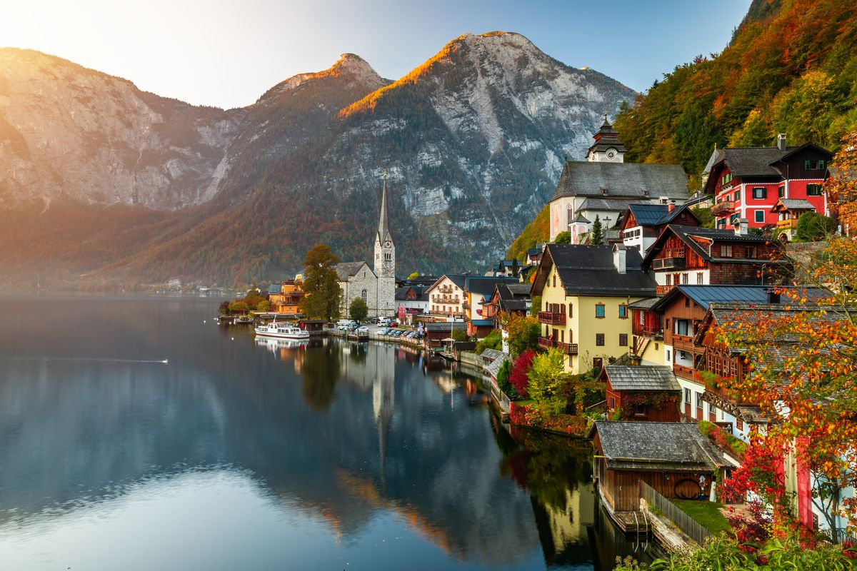 Slide 31 of 33: Mountains in the resort village of Hallstatt in the Salzkammergut region of Austria.