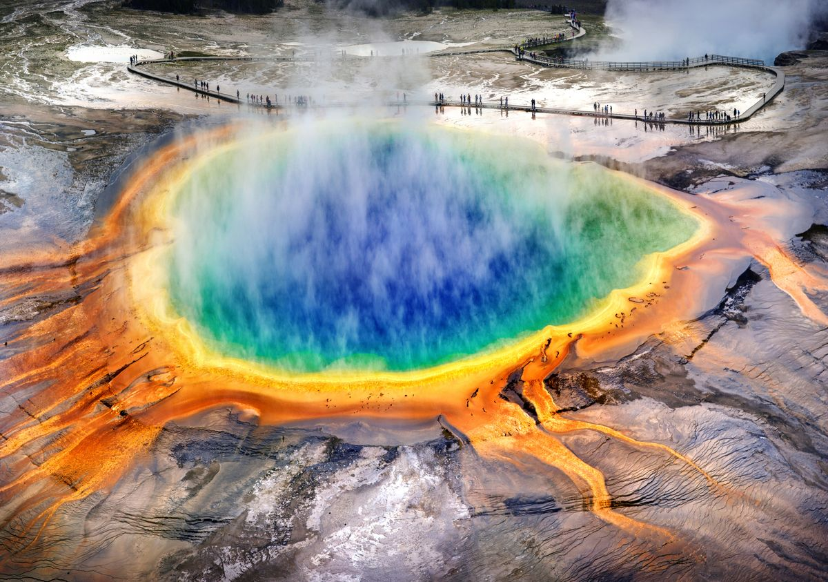 Slide 51 of 51: Yellowstone National Park Let's go out with a bang. This was the first official National Park, established on March 1, 1872, and is filled with gorgeous scenery and wildlife, of course, but also some wild hydrothermal activity. From the legendary Old Faithful geyser, to the beautiful but toxic and deadly Grand Prismatic Spring.
