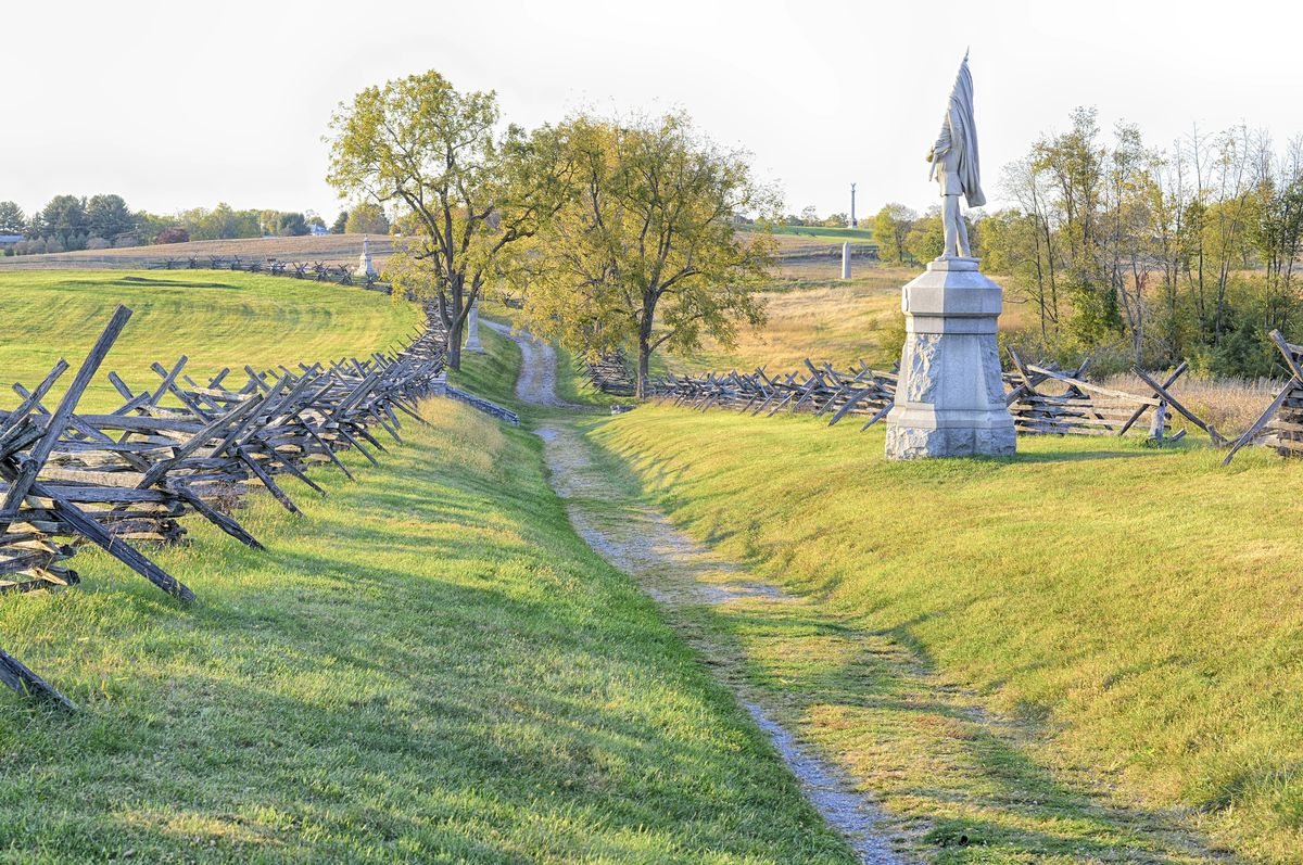 Slide 21 of 51: Antietam National Battlefield In this tragic spot, 23,000 soldiers were killed or wounded in the span of one awful day during the midst of the Civil War. Bring tissues.