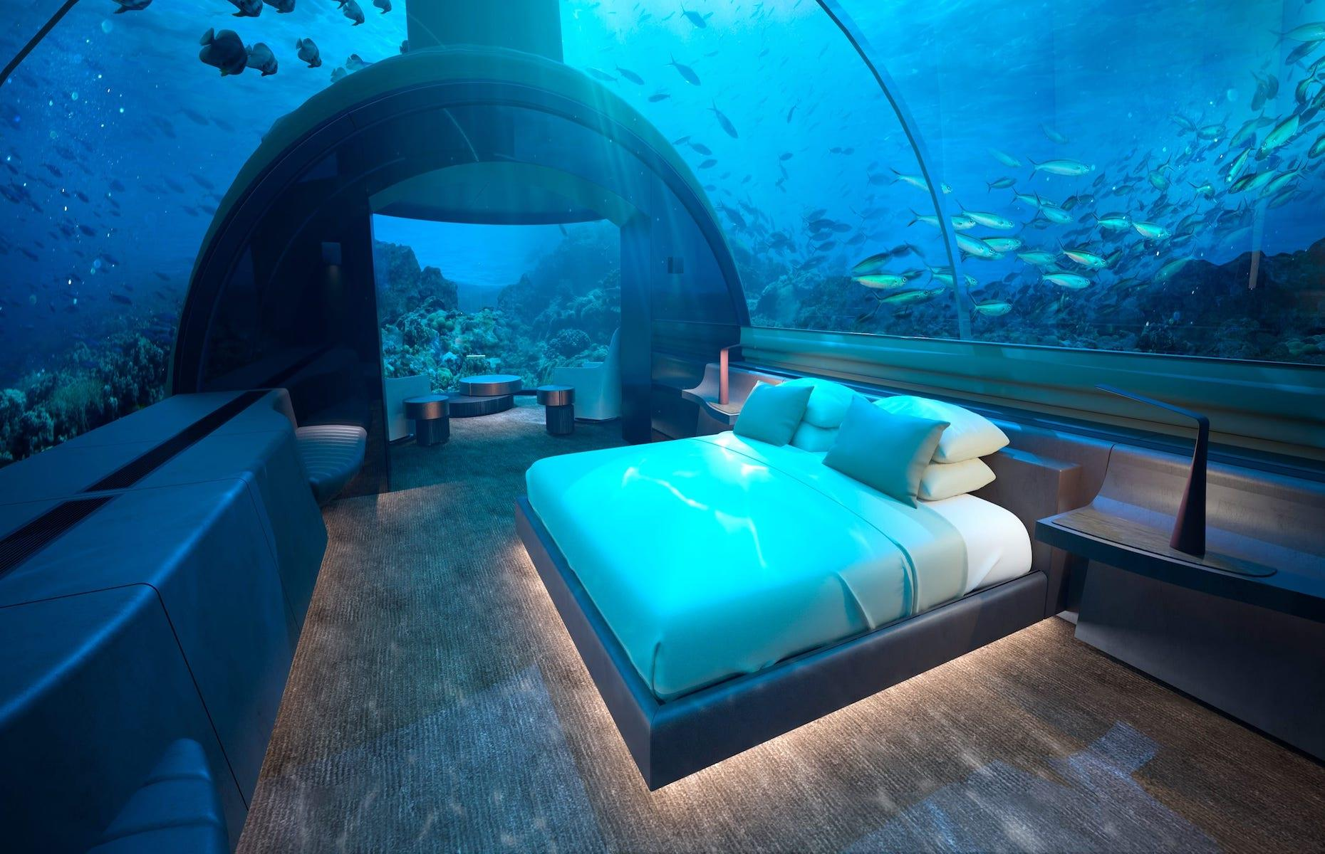 Slide 1 of 24: From futuristic chambers attached to the seabed to serene suites with vast windows looking out onto fish-filled aquariums, there are some out-of-this-world underwater hotel rooms that are well worth diving into. Although we can't travel to most of them right now, read on for a serious dose of armchair travel and wanderlust.