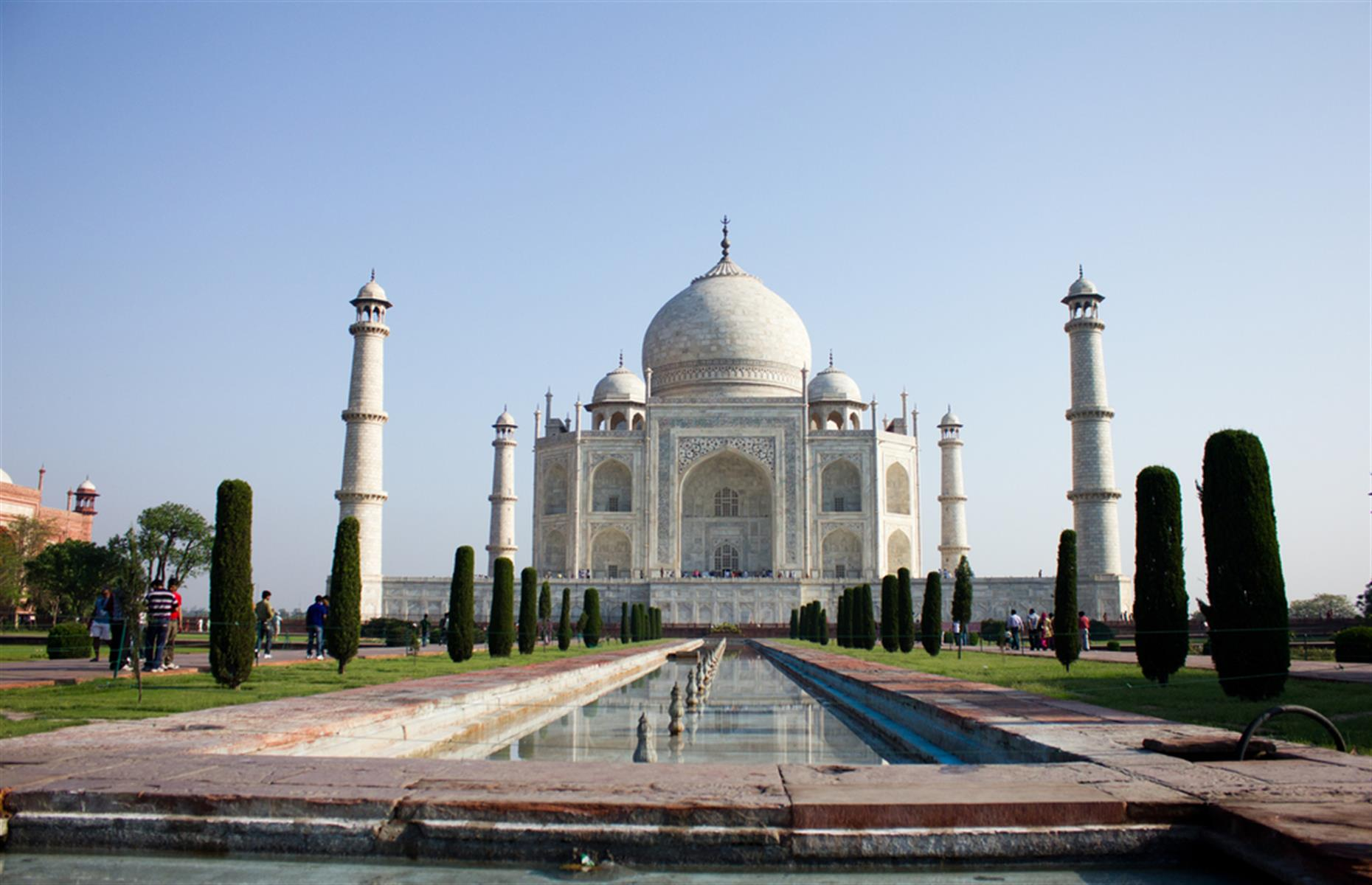 Slide 2 of 33: India's incredible Taj Mahal was built between 1631 and 1648, in memory of the Mughal emperor Shah Jahan's favorite wife. Once a vibrant white, it's now rather losing its shine thanks to a mixture of pollution and insect organic matter.