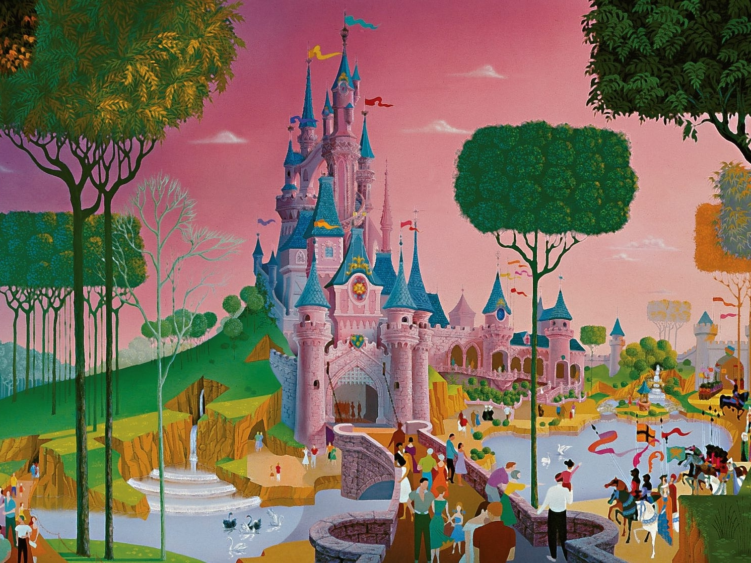Slide 3 of 41: It was Walt Disney himself who visited the castle and got inspired to create the place where Aurora sleeps, adding elements from other nearby castles.
