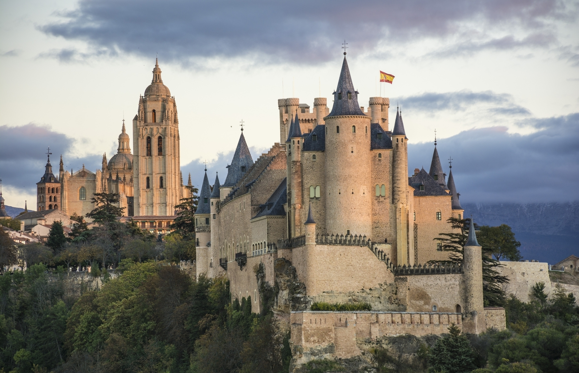 Slide 30 of 41: The Queen's castle in the movie version of Snow White and the Seven Dwarfs was inspired by the Alcázar of Segovia in Spain.