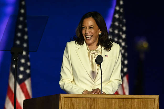 Slide 4 of 36: Vice President-elect Kamala Harris delivers remarks.