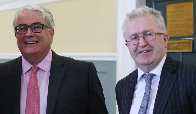Frank Clarke wearing a suit and tie: The authority of the previously well-regarded Frank Clarke, left, has not really recovered since then. Pic: Sam Boal/RollingNews.ie