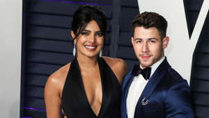 Priyanka, Nick Jonas posing for the camera