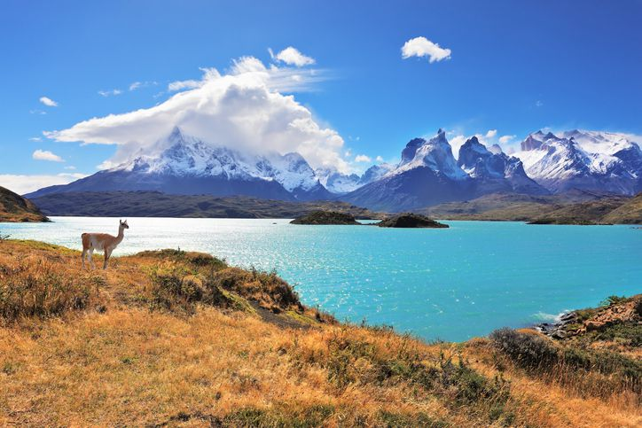Slide 48 of 52: Pehoe Lake, located in Chile's Torres del Paine National Park, is an unwordly crystalline body of water that reflects the jagged peaks of the surrounding mountains, which seem to rise up directly from the lake.