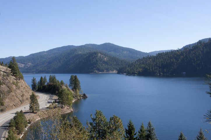 Slide 50 of 52: Lake Coeur d'Alene was formed over 10,000 years ago by floods that ripped through this part of the country. Today, it's a dam-controlled body of water that is beloved in summer for its beaches.