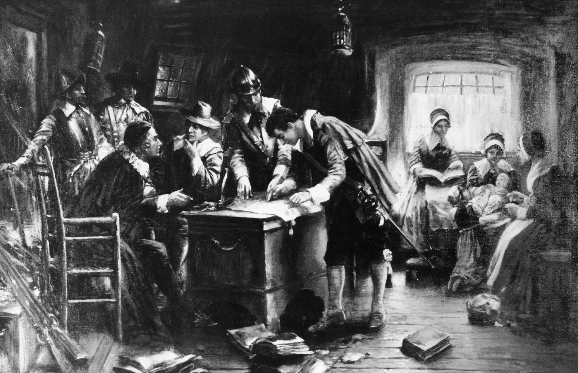 "Slide 14 of 23: The Mayflower Compact was signed by 41 men, as depicted here, who stated their intentions ""to plant the first colony in the Northerne parts of Virginia"" for ""the glory of God, and advancement of the Christian faith"". The Pilgrims also promised to act under ""civill body politick, for our better ordering and preservation"". Once the document was signed, the colonists began to explore the land they'd arrived upon."