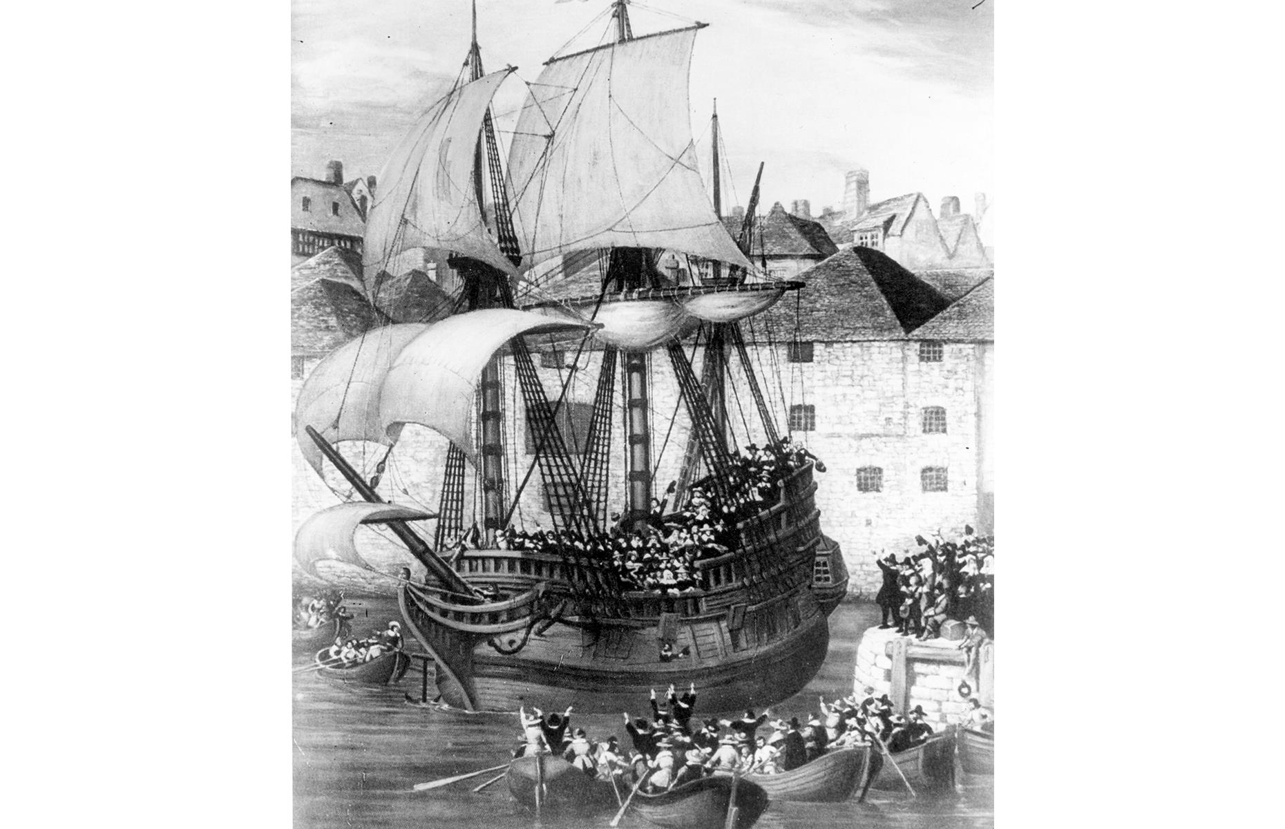 Slide 10 of 23: The Mayflower eventually left the port of Plymouth in September (as captured in this drawing). The ship was captained by Christopher Jones (who likely resided in its stern), while the passengers – including key figures like Separatist leader William Brewster – would have made do with the cramped, chilly conditions of the cargo deck.