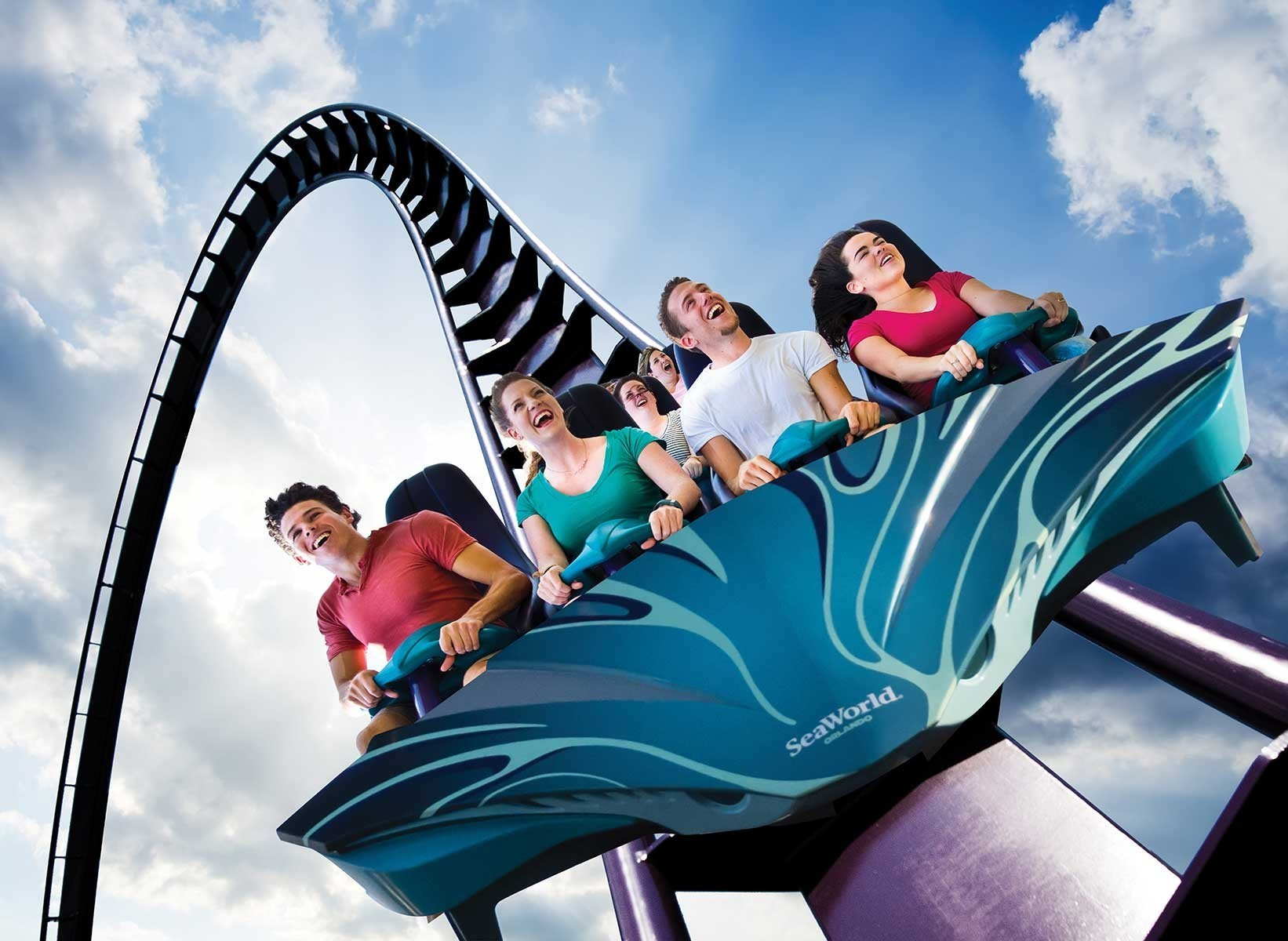 Slide 6 of 19: Named after the sleek and speedy pelagic shark, Mako at SeaWorld Orlando is Orlando's tallest, fastest, and longest roller coaster. You'll fly up to 61 metres (200 feet) high and roar along at up to 118 kilometres (73 miles) per hour while shrieking with delight.
