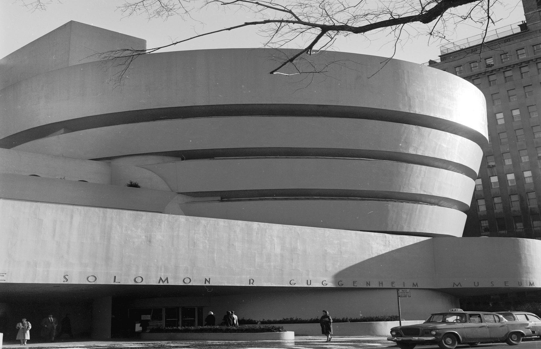 Slide 28 of 48: The Guggenheim Museum moved into its permanent home, the innovative Frank Lloyd Wright-designed building, in 1959. Originally founded in 1939 by the Solomon R. Guggenheim Foundation to house the businessman and art collector's pieces, it was renamed the Solomon R. Guggenheim Museum in 1952. The modern art gallery, located on the corner of Fifth Avenue and East 89th Street, became one of the most significant architectural icons and cultural spaces of the 20th century.