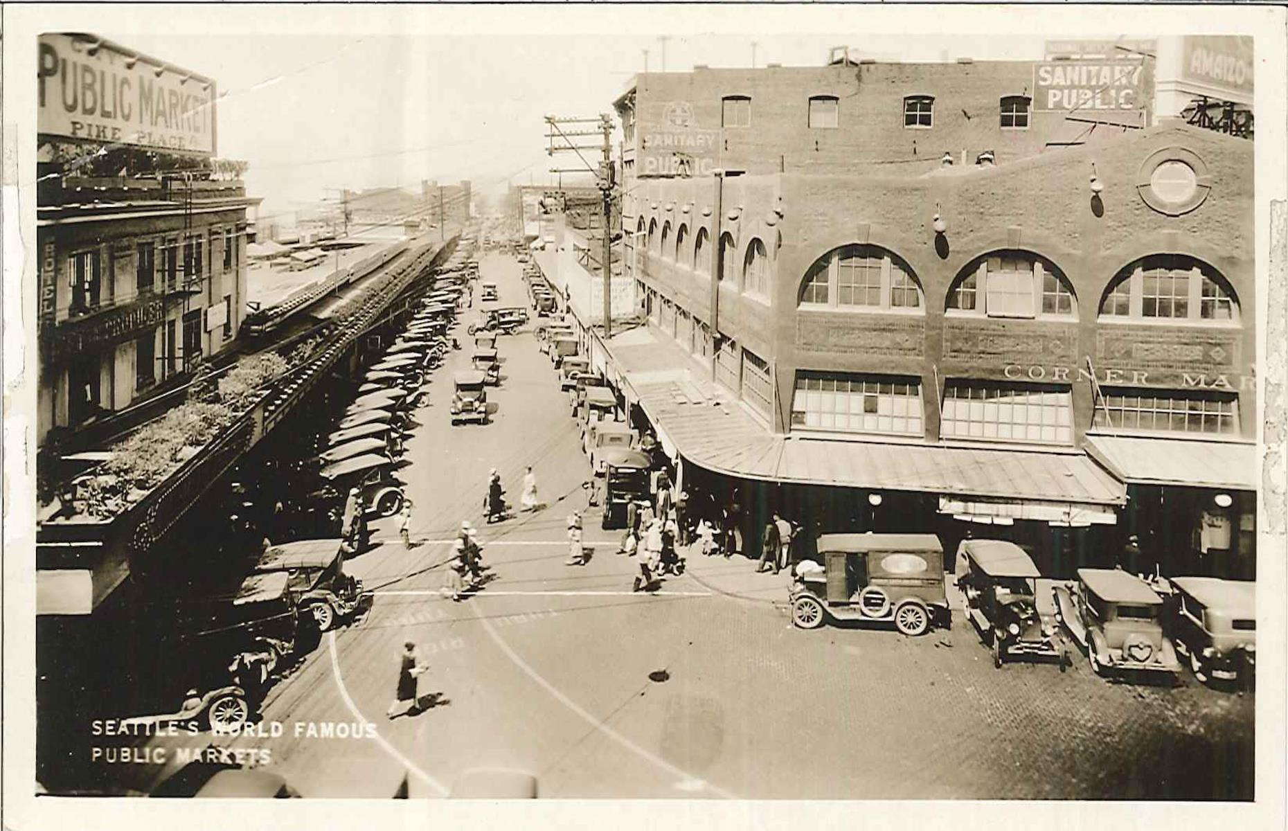 Slide 37 of 48: Opening in 1907, Seattle's marketplace is the oldest continuously operating farmers' market in the country and one of the city's most popular sights. After prospering in the 1920s (pictured) and 1930s, it fell on hard times and was slated for demolition in the 1960s. However, a successful campaign saw it saved and a 17-acre historic district was created in 1971, the same year the very first Starbucks opened at Pike Place. The market was renovated in 1974 and today it usually welcomesaround 10 million visitors.