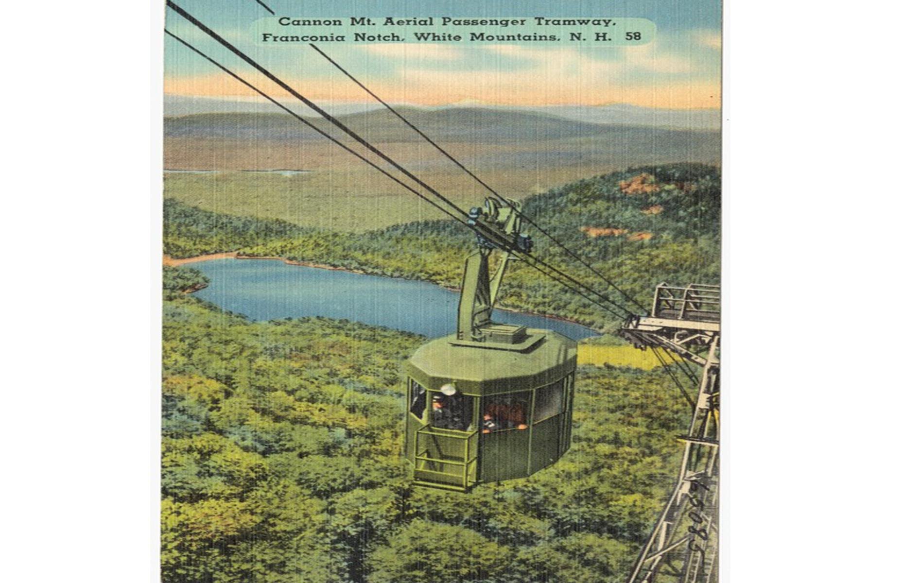 Slide 21 of 48: New Hampshire's Cannon Mountain was the site of the very first aerial tramway in north America, which ushered in ski and summer tourism to the area. It was constructed in 1938 after champion downhill skier Alexander Bright returned from a trip to Europe's ski resorts and rallied local investors, lawmakers and contractors to construct their own tramways. It quickly became a major tourist attraction, carrying 163,000 passengers in its first year. It ceased operation in 1980 and a new one was built.