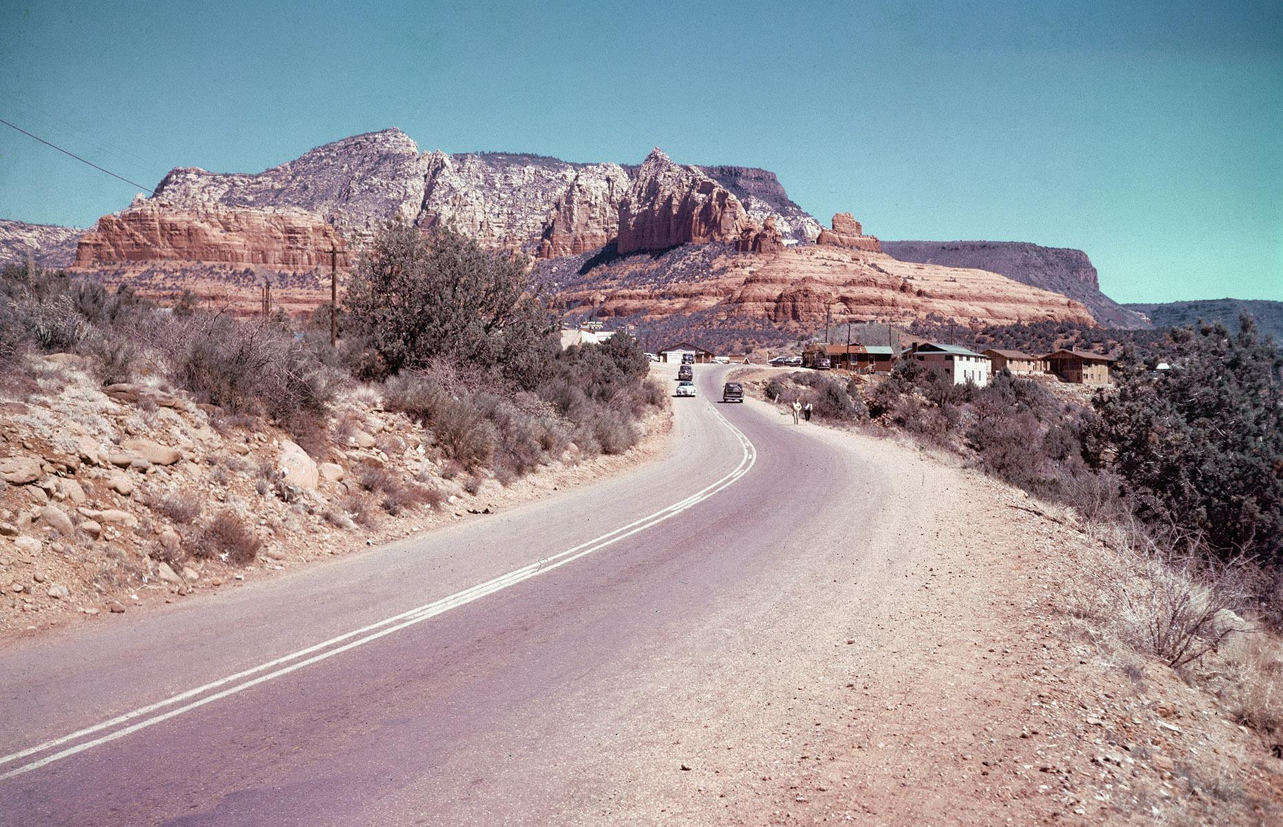 """Slide 35 of 48: While the year 1926 marked the birth of Route 66, the """"Mother Road"""" really became synonymous with the great American road trip in the 1950s and 1960s. Post-war, American motorists flocked to Route 66which was by now peppered with motels, auto camps, diners and gas stations. In 1960, Route 66, an American TV series that followed the escapades of a pair of young men traveling the route, aired on CBS. As the route continued to crop up in popular culture, America's fascination with it grew. Discover more epic road trips across the US here."""