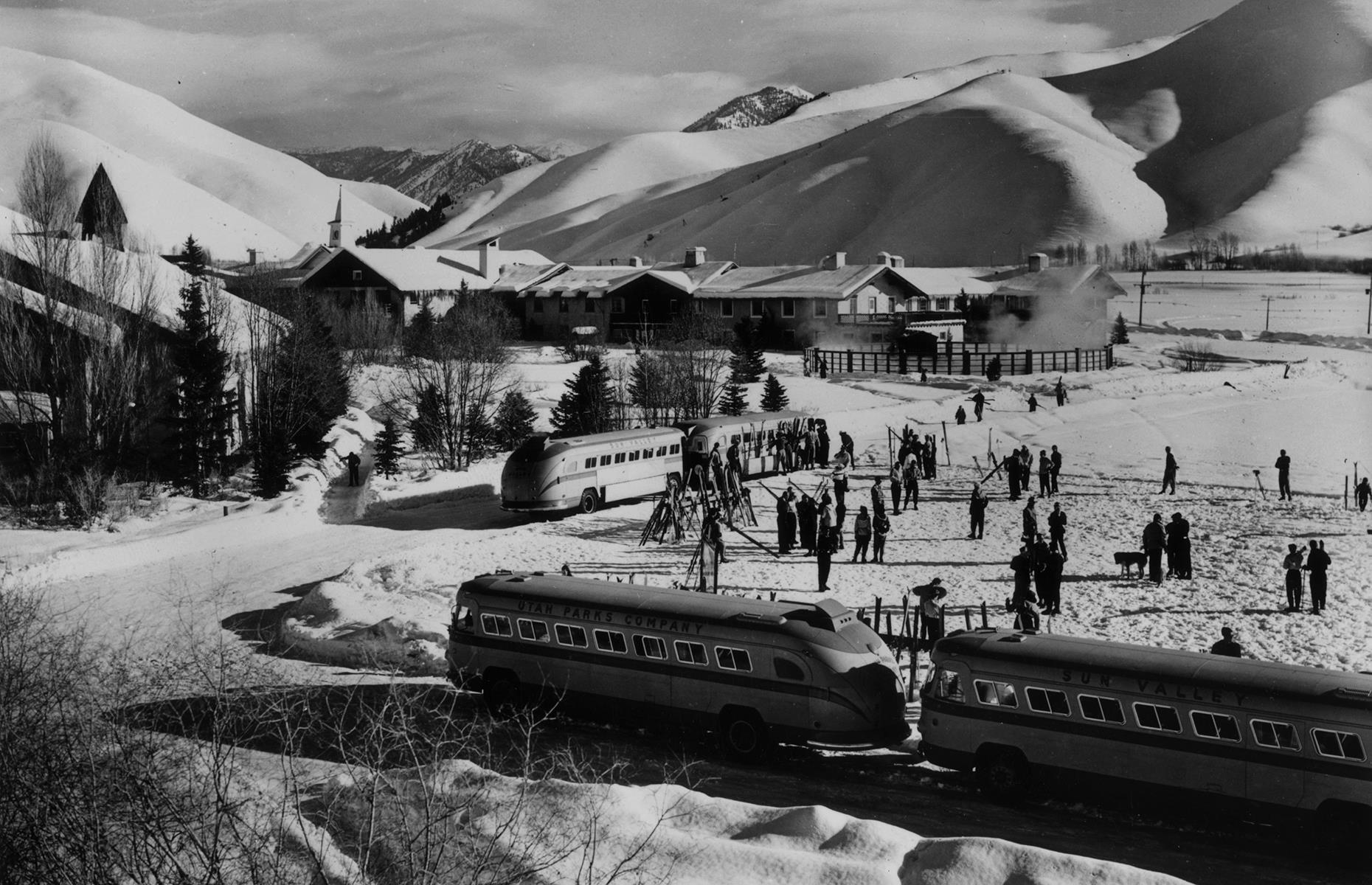 Slide 27 of 48: Skiing became more popular and accessible throughout this decade, mostly due to the continued development of recreational skis. Idaho's Sun Valley, one of America's earliest ski resorts, thrived throughout the 1950s, welcoming celebrities and members of high society. It was also the site of the world's first chairlifts, which were invented by Union Pacific Railroad engineer James Curran.